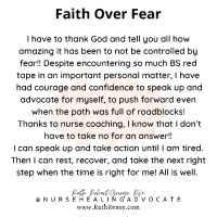 Faith over fear… all is well.